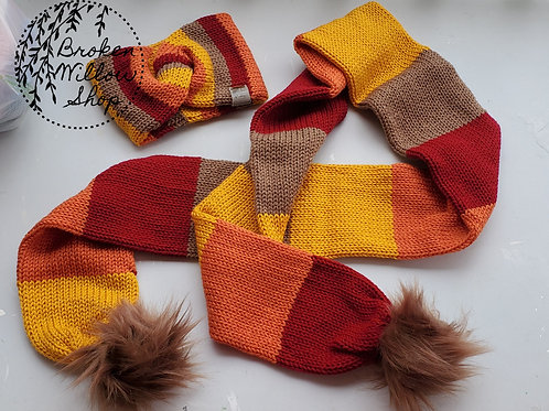 Ready To Ship Adult Double Knit Head Band and Scarf Fall Autumn Colors