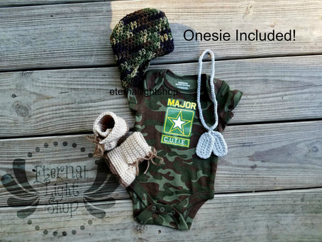Newborn Crochet Army Hat, Onesie, Dog Tags and Boots Soldier