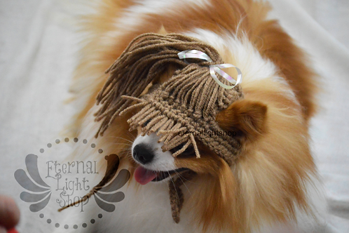 Pet Ponytail Wig Hat Beanie (XS-XL) Any Colors