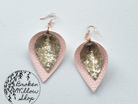 Gold Glitter and Pink Faux Leather Teardrop Earrings