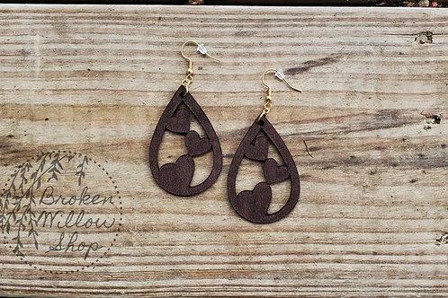 Valetine's Day Bass Wood Teardrop Earrings