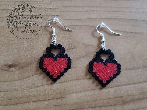 Little Locked Hearts Mini Perler Earrings