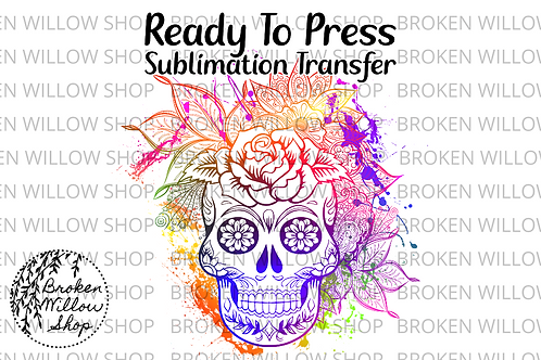 Colorful Skull with Flowers Ready To Press Sublimation Transfer