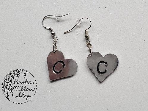 Custom Heart Initial Earrings