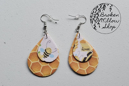 Honey Bees Faux Leather Teardrop Earrings