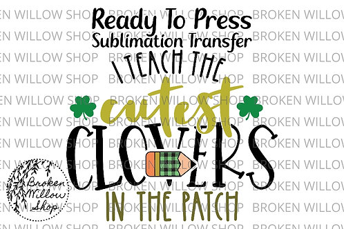 I Teach the Cutest Clovers in the Patch Ready to Press Sublimation Transfer, St.