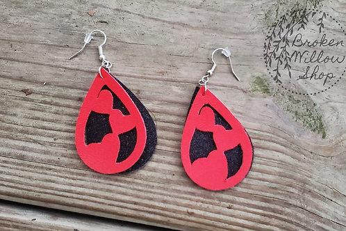Valentine's Day Hearts Faux Leather Teardrop Earrings
