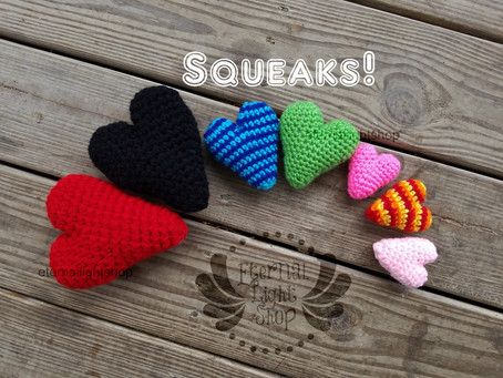 Pet Squeaky Dog Toy Hearts (Sm, Md, Lg) Any Colors Small, Medium, Large