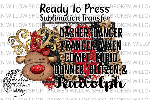 Reindeer Names Ready to Press Sublimation Transfer Christmas, Holiday