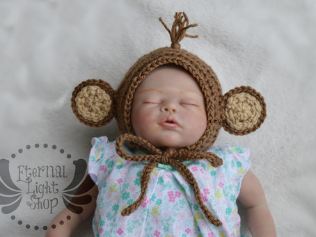 ANY COLORS/SIZES Monkey Baby Bonnet/Hat