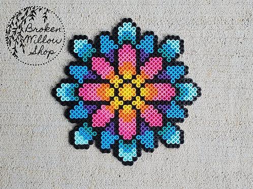 Colorful Flower Mandala Perler Bead Art