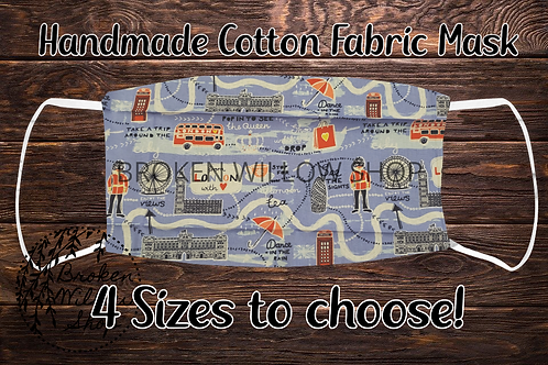 London Handmade 100% Cotton Face Mask, Choose From 4 Different Sizes
