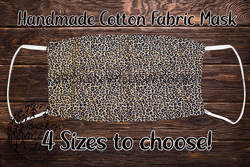 Cheetah Print Handmade 100% Cotton Face Mask, Choose From 4 Different Sizes