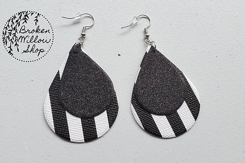 Glittery Black and Stripes Faux Leather Teardrop Earrings