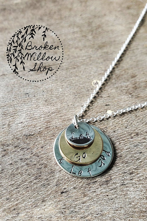 "Let Go and Let God 16"" Hand Stamped Necklace"