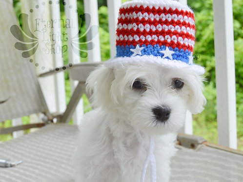 Pet 4th of July Independence Day Top Hat (XS-XL)