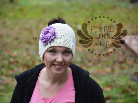 ALL SIZES/COLORS Flower Big Huge Ponytail Messy Bun Beanie Hat