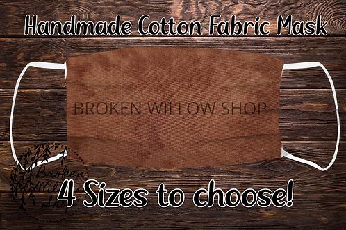 Brown Handmade 100% Cotton Face Mask