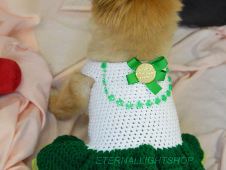 Pet St. Patrick's Clover Dress (XXS-XXL)