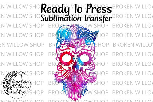 Colorful Beard Skull Ready To Press Sublimation Transfer