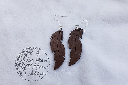 Feather V2 Bass Wood Teardrop Earrings