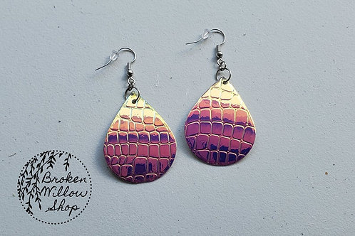 Iridescent Scales Faux Leather Teardrop Earrings