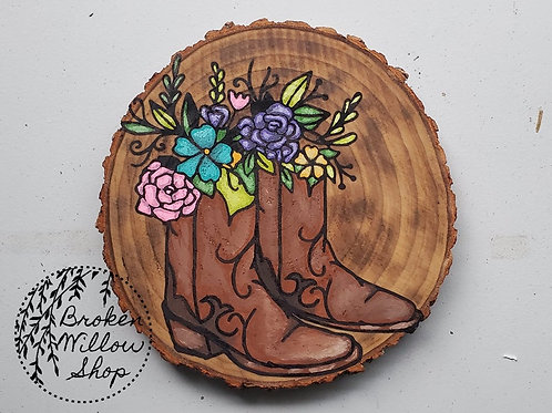 "READY TO Ship Boots and Flowers Painting 6 1/2"" x 6 1/2"""