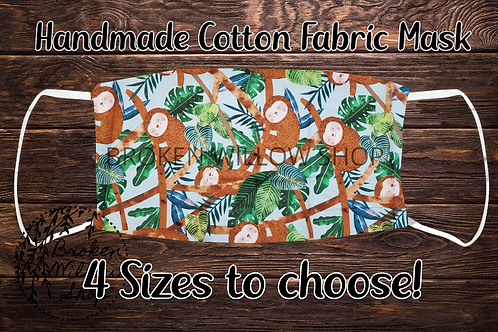 Sloth Handmade 100% Cotton Face Mask, Choose From 4 Different Sizes