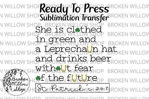 St. Patrick's Day Ready to Press Sublimation Transfer, St. Patrick's Day, Holida