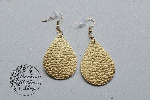 Gold Textured Faux Leather Teardrop Earrings