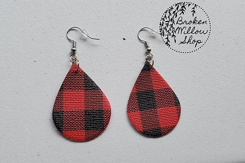 Red and Black Buffalo Plaid Faux Leather Teardrop Earrings