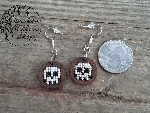 Skull Cross Stitch Wooden Earrings