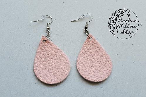 Pink Textured Faux Leather Teardrop Earrings