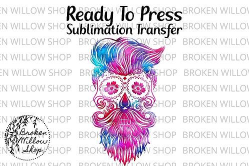 Colorful Beard Skull Ready To Press Sublimation Transfer