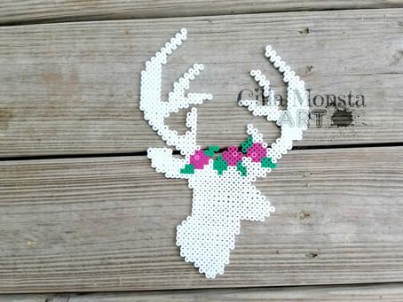 """Deer Silhouette Flower Crown Perler Fuse Bead Artwork 10"""" x 5"""" Artkal Hama"""