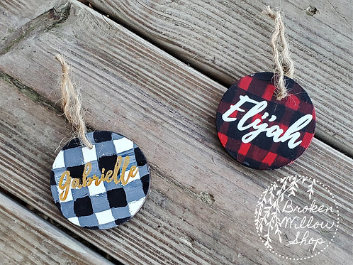 Custom Name Hand Painted/Vinyl Wood Art Ornament