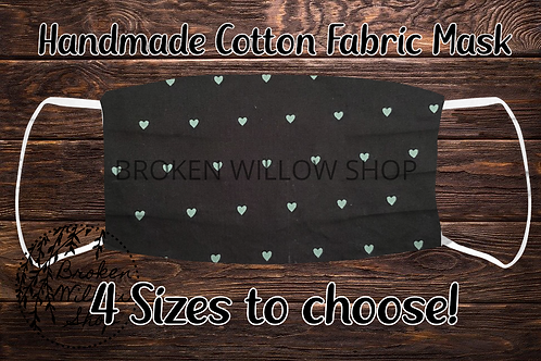 Black Green Hearts 100% Cotton Face Mask