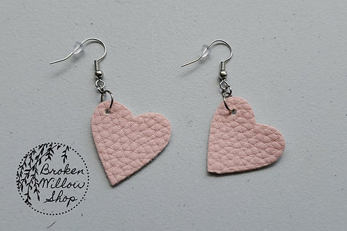 Pink Hearts Faux Leather Teardrop Earrings