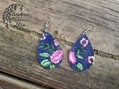 Floral Faux Leather Teardrop Earrings