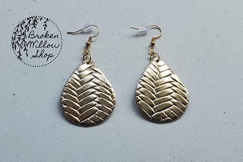Gold Basket Weave Textxure Faux Leather Teardrop Earrings
