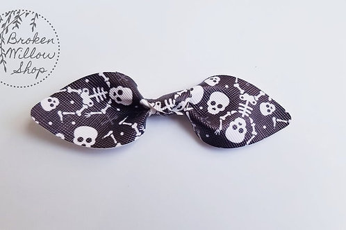 Halloween Skeleton Faux Leather Knot Bow