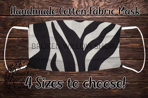 Big Zebra Stripes 100% Cotton Face Mask
