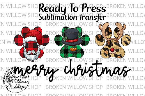 Merry Christmas Ready to Press Sublimation Transfer Christmas, Holiday