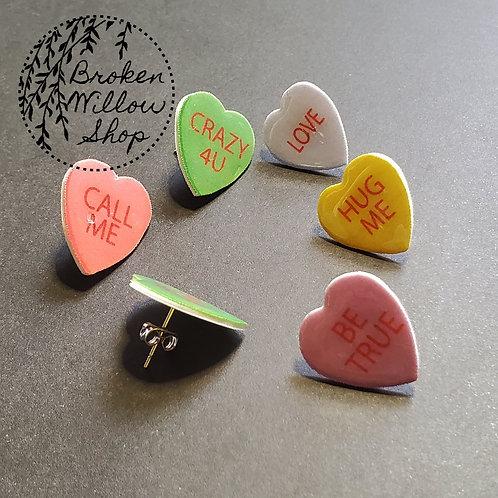 Valetine's Random Candy Hearts Stud Earrings