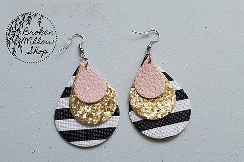 Pink, Gold Glitter and Stripes Faux Leather Teardrop Earrings