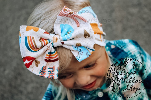 Girl Power Print Fabric Knit Head Wrap, Baby Big Bow, Headwrap, Bow