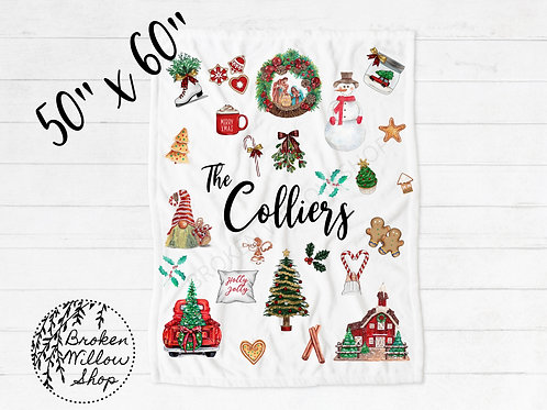 Sublimated Custom Name Christmas Throw Blanket