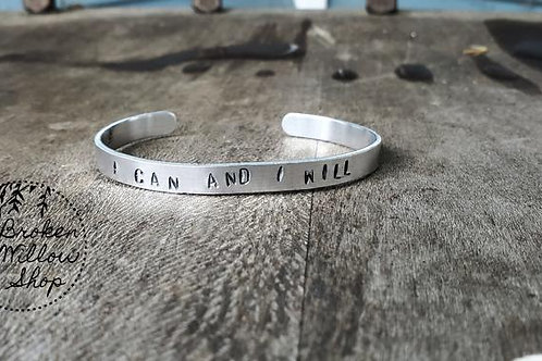 """I Can & I Will Hand Stamped Bracelet 1/4"""" x 6"""""""