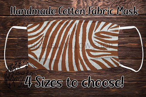 Zebra Brown Handmade 100% Cotton Face Mask, Choose From 4 Different Size