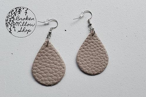 Grey Faux Leather Teardrop Earrings